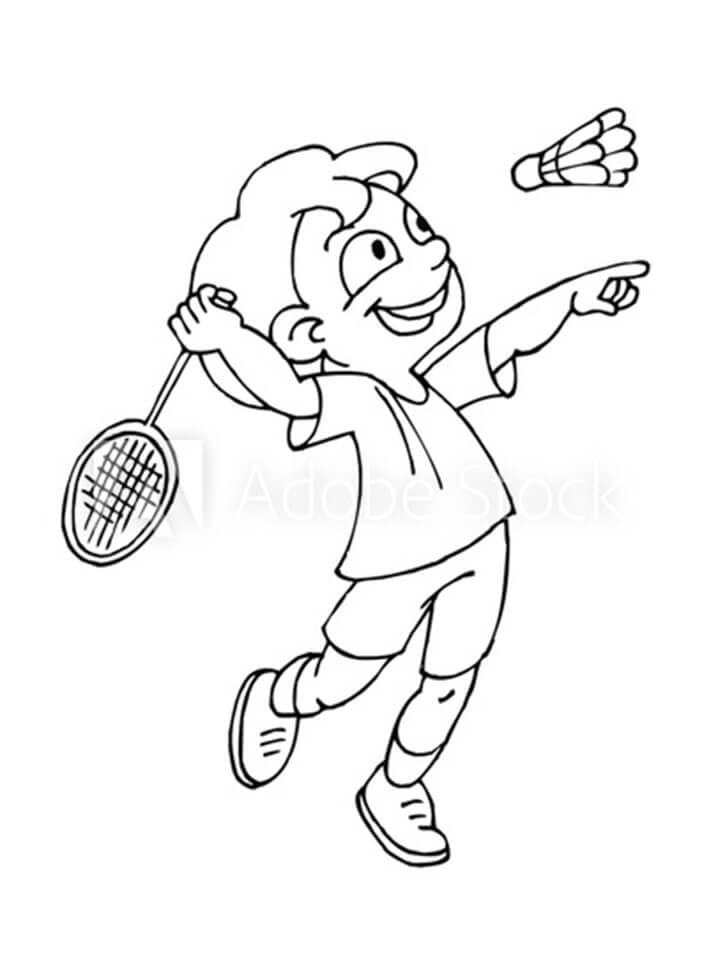 Desenhos de Menina Jogando Badminton 3 para colorir