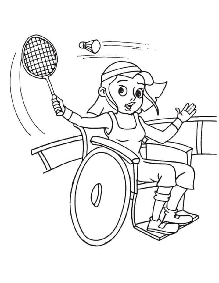 Desenhos de Menina Jogando Badminton para colorir