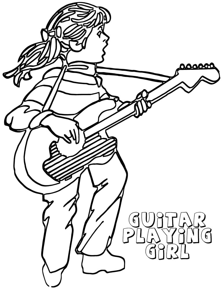 Desenhos de Menina Jogando Guitarra para colorir