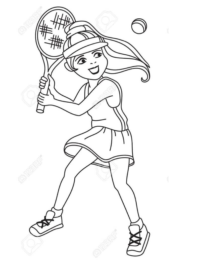 Desenhos de Menina Jogando Tênis 1 para colorir