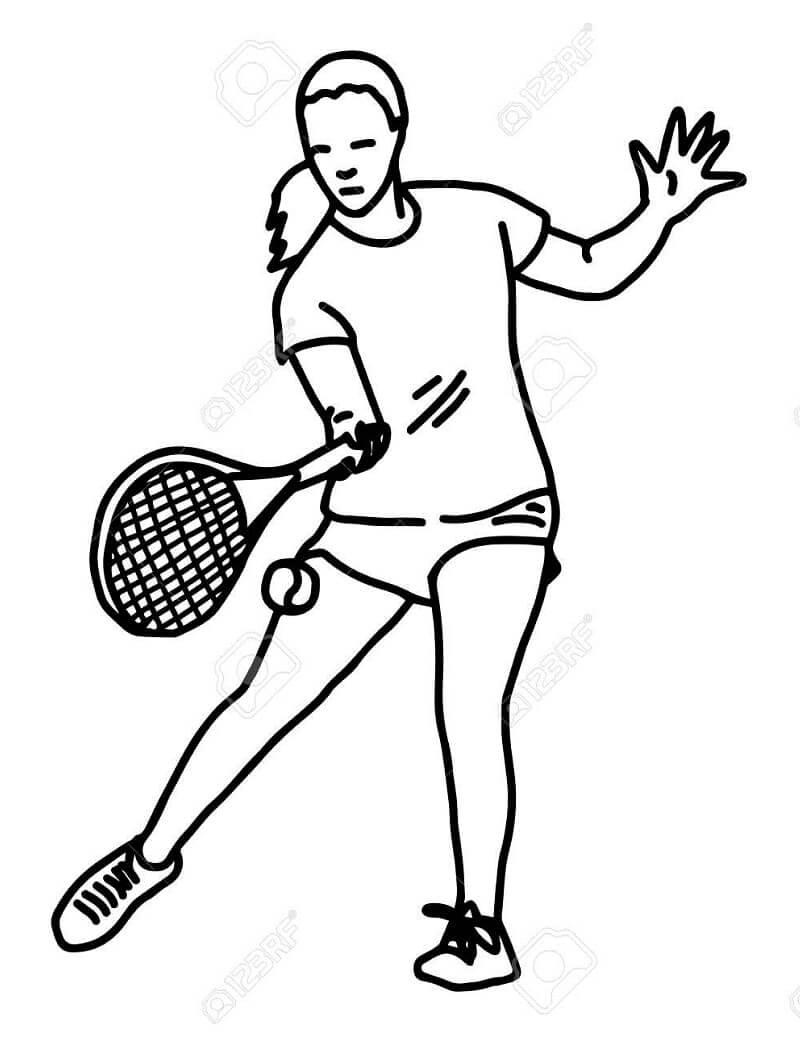 Desenhos de Menina Jogando Tênis 2 para colorir