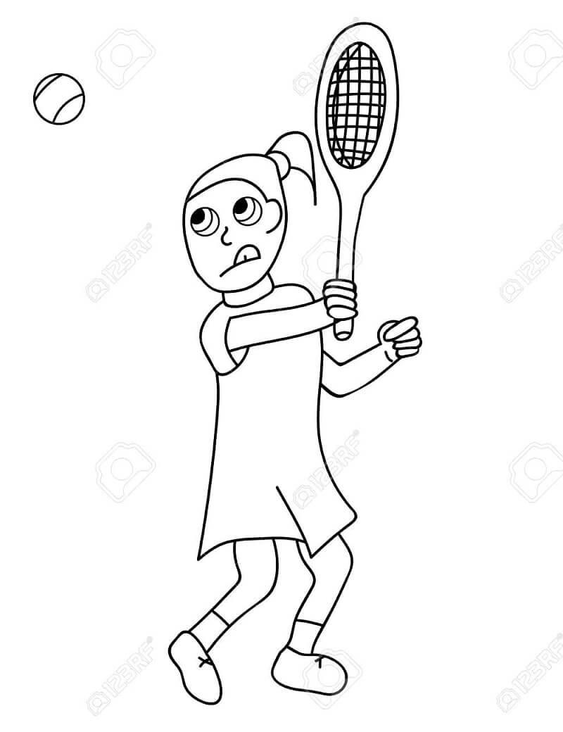 Desenhos de Menina Jogando Tênis para colorir