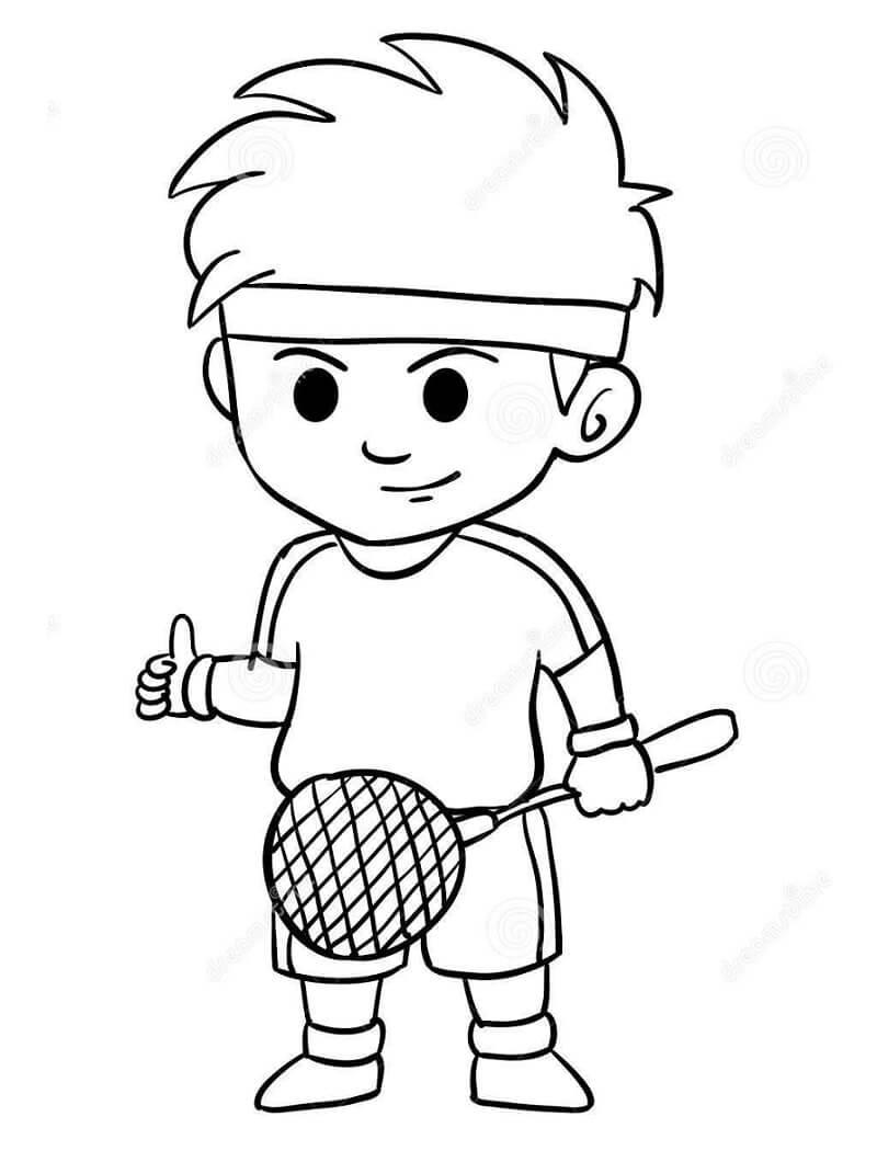 Desenhos de Menino Jogando Badminton 1 para colorir