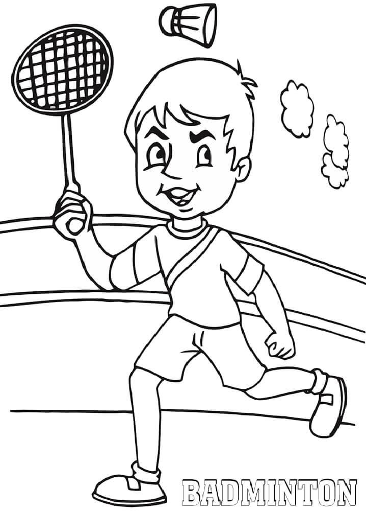 Desenhos de Menino Jogando Badminton 2 para colorir
