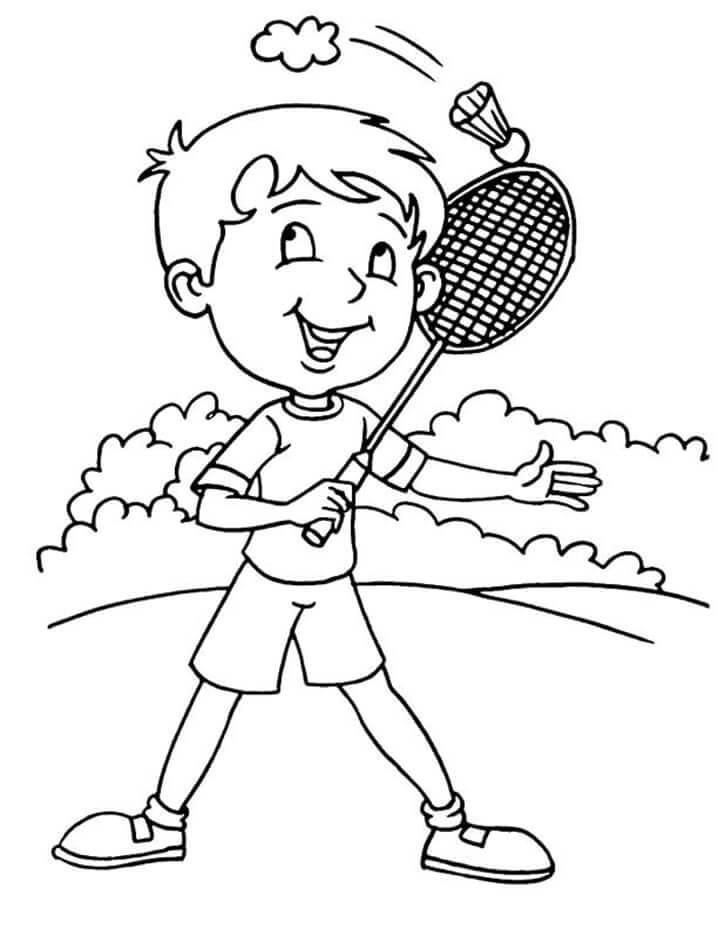 Desenhos de Menino Jogando Badminton 3 para colorir