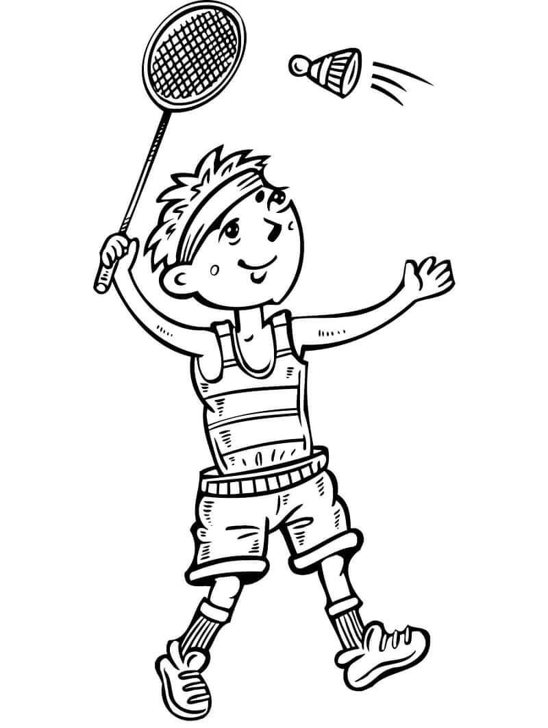 Desenhos de Menino Jogando Badminton para colorir