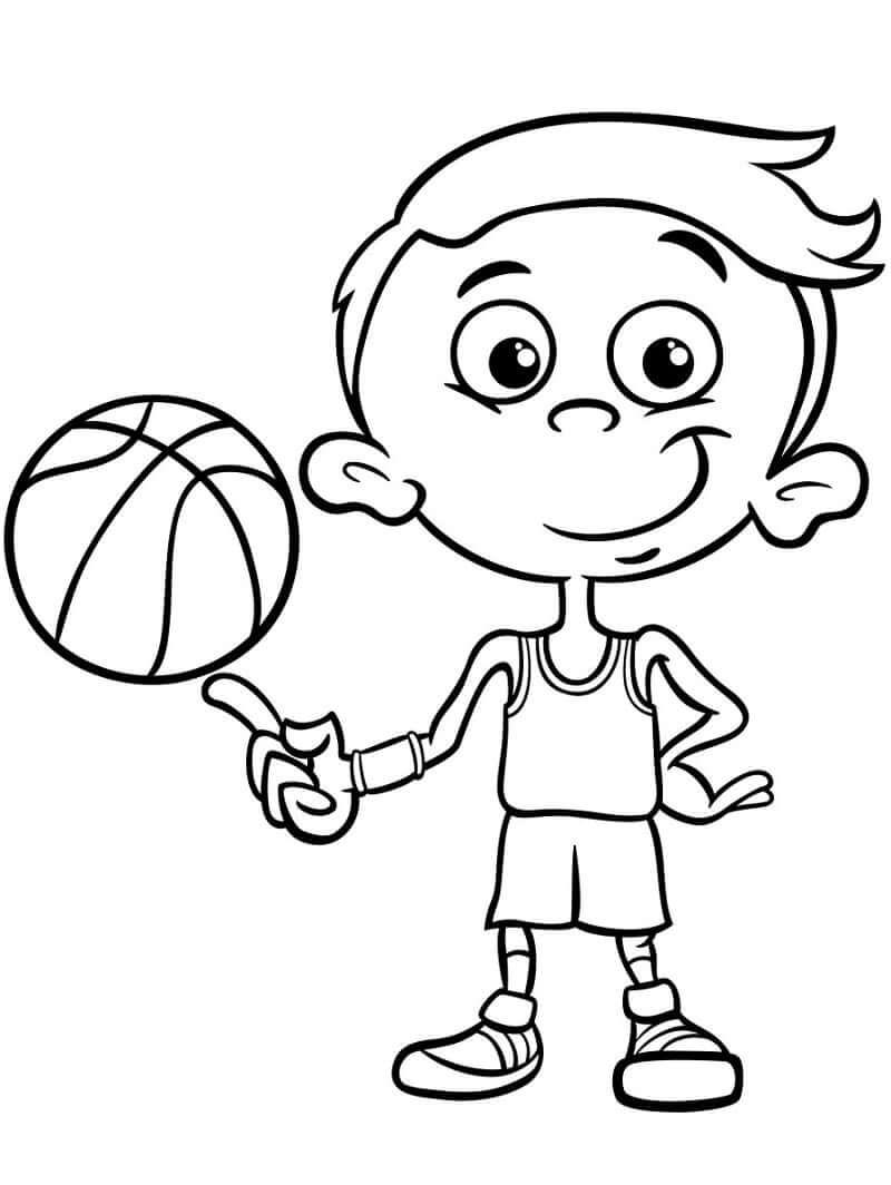 Desenhos de Menino Jogando Basquete 2 para colorir