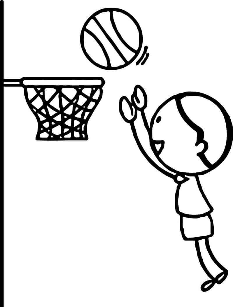 Desenhos de Menino Jogando Basquete para colorir