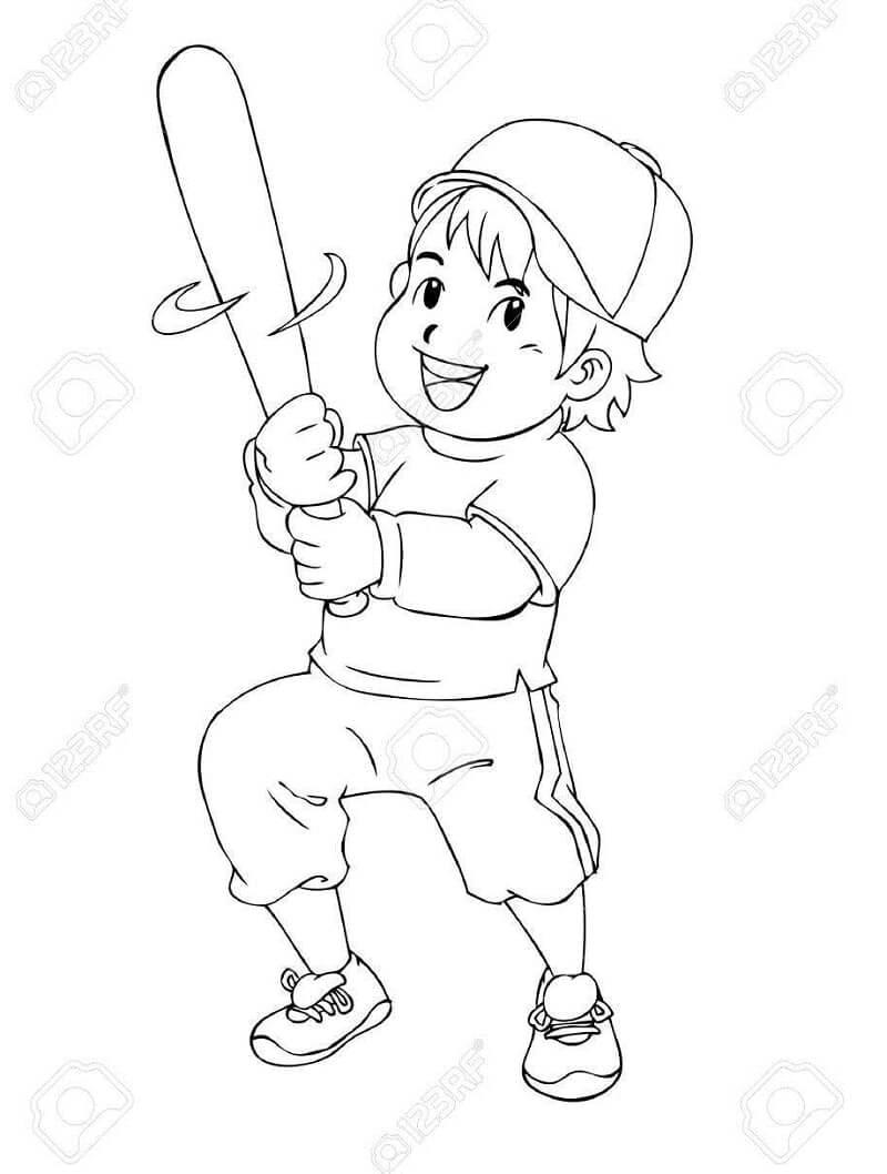 Desenhos de Menino Jogando Beisebol 3 para colorir