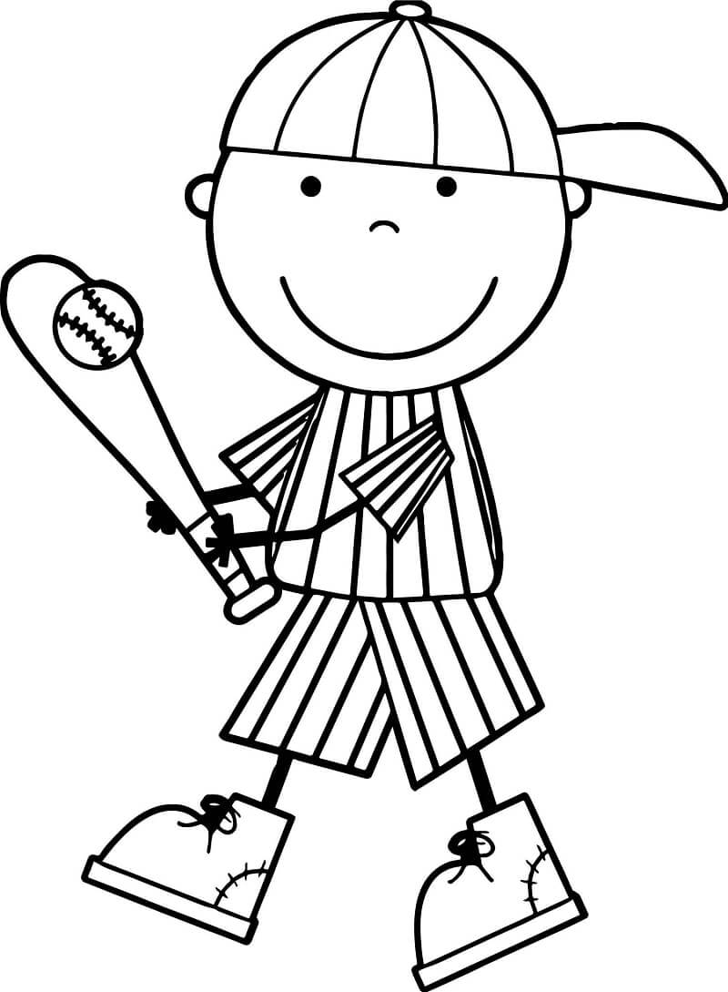 Desenhos de Menino Jogando Beisebol para colorir