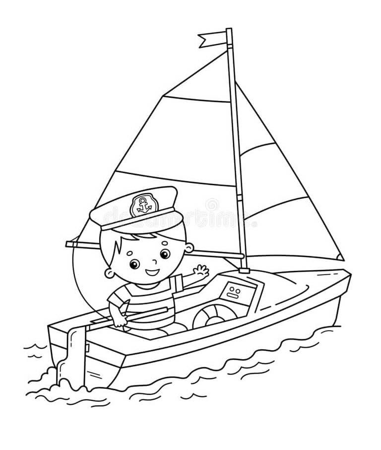 Desenhos de Menino em um Barco para colorir