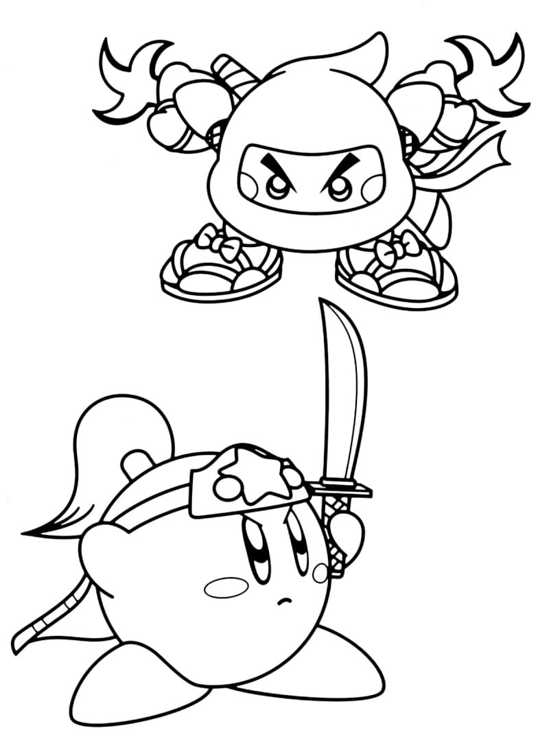 Desenhos de Ninja Kirby para colorir