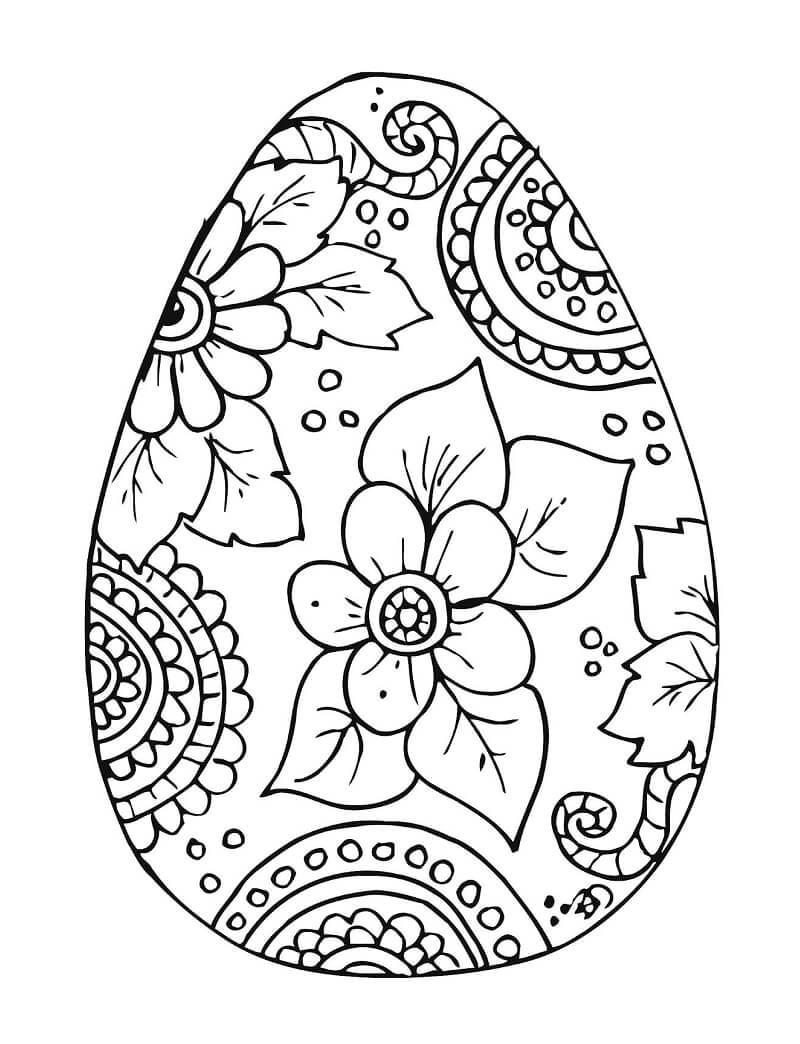 Desenhos de Ovo de Páscoa Flor para colorir
