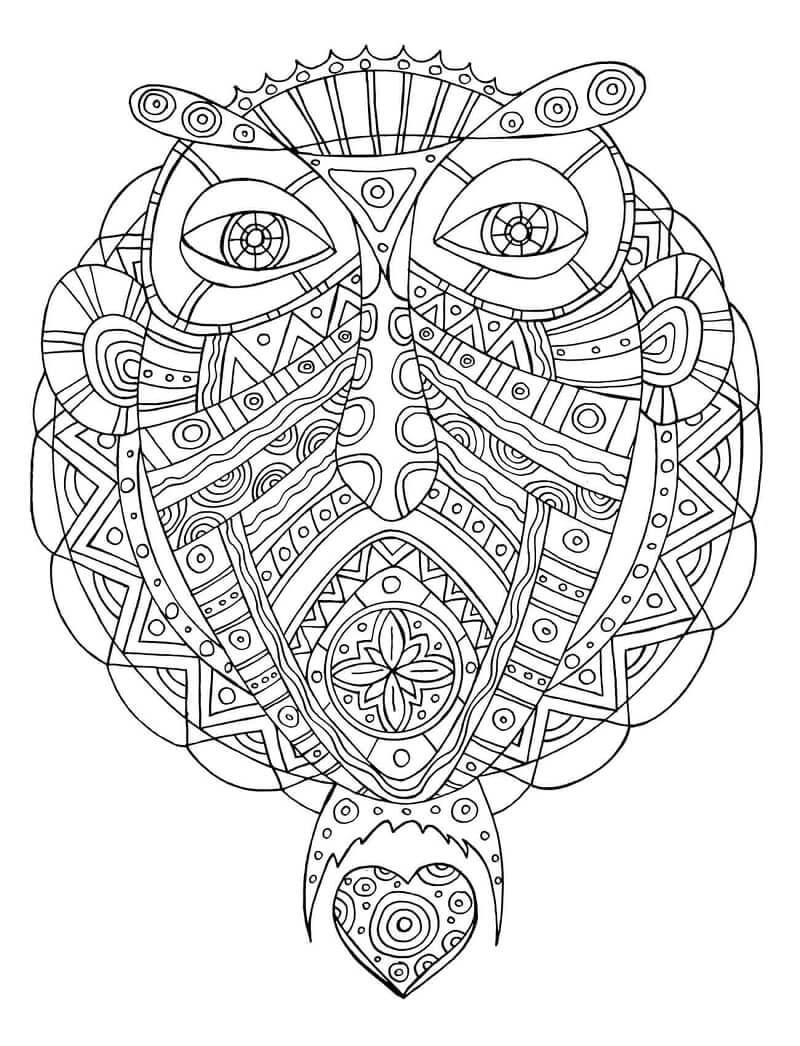 Desenhos de Peixe-unicórnio com padrão tribal para colorir