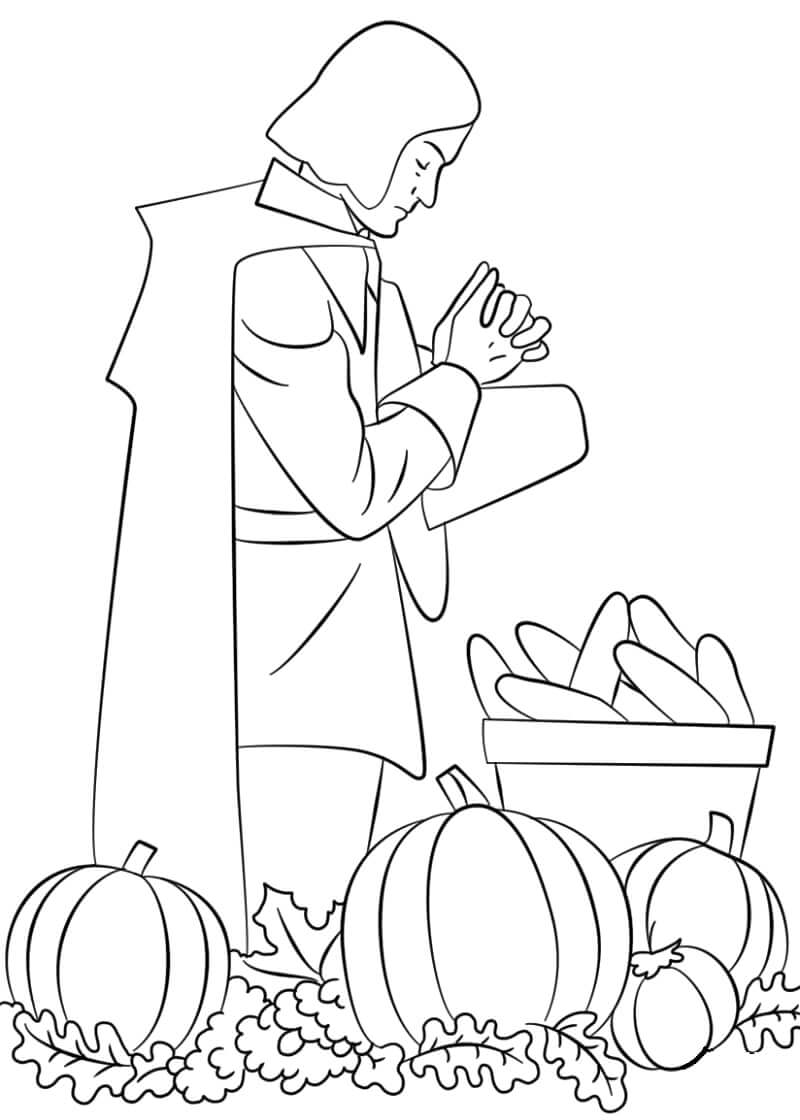 Desenhos de Peregrino a Rezar para colorir