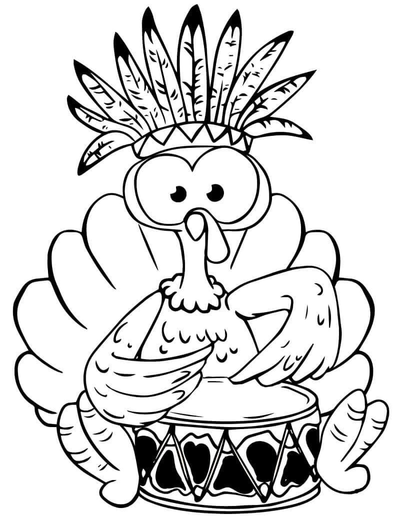 Desenhos de Peru a tocar Tambor para colorir