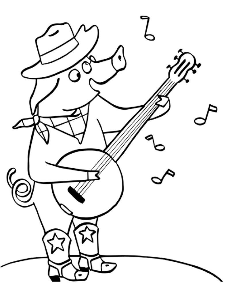 Desenhos de Porco Jogando Banjo para colorir