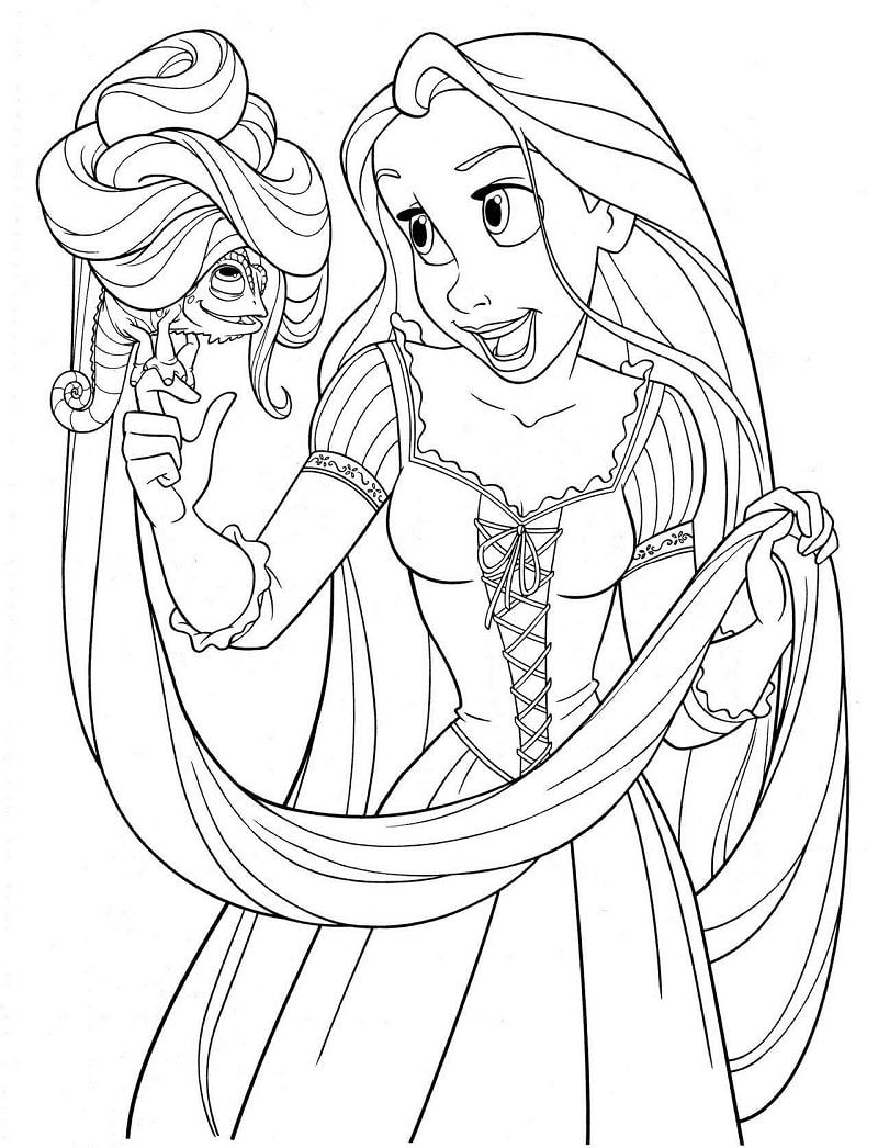 Desenhos de Princesa Rapunzel Fofa para colorir
