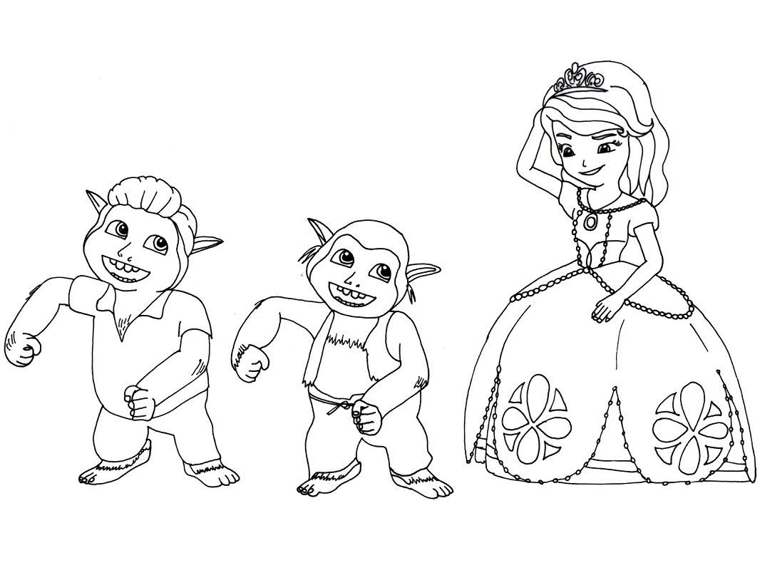 Desenhos de Princesa Sofia Feliz para colorir