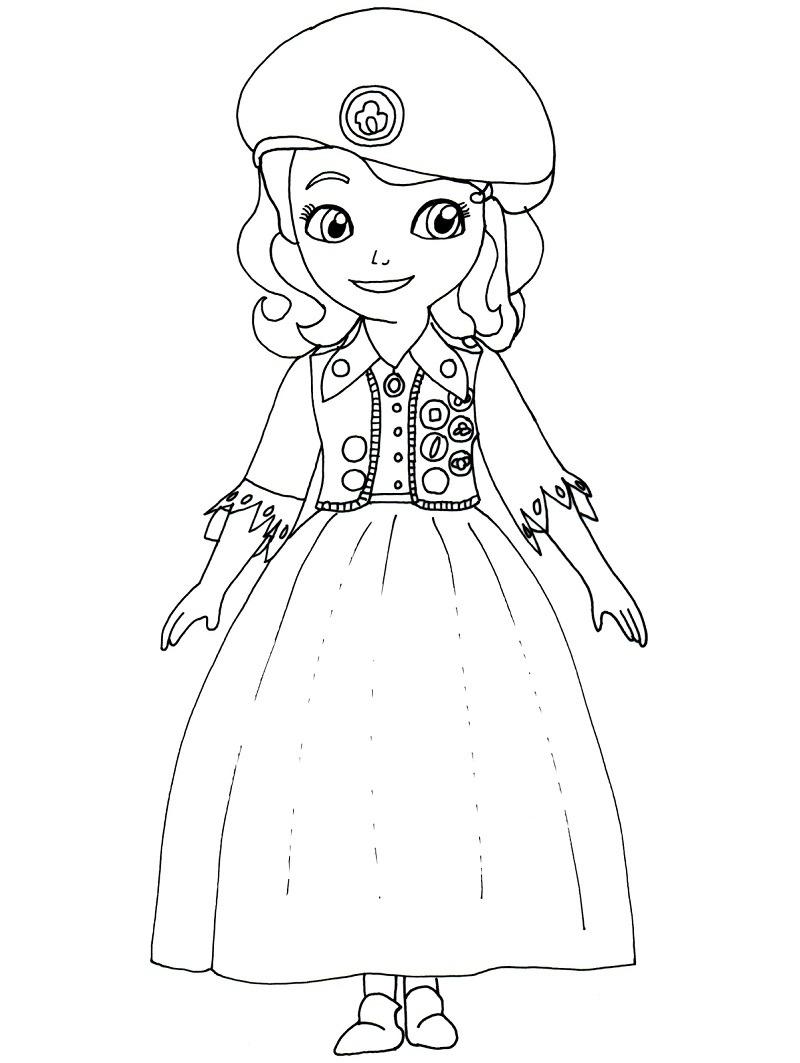 Desenhos de Princesa Sofia Sorrindo para colorir
