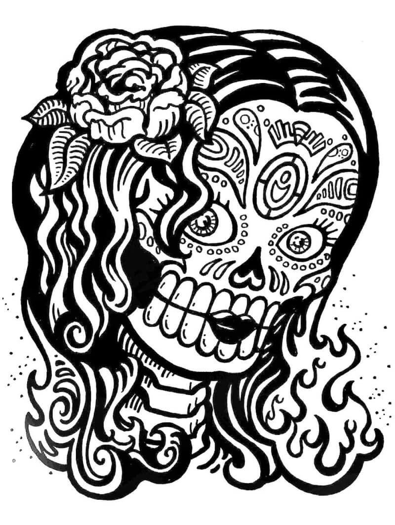 Desenhos de Rapariga Caveira de Açucar para colorir