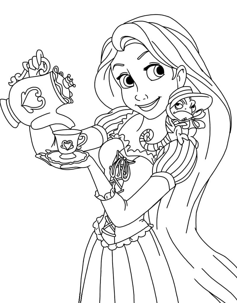 Desenhos de Rapunzel Bebe Chá para colorir