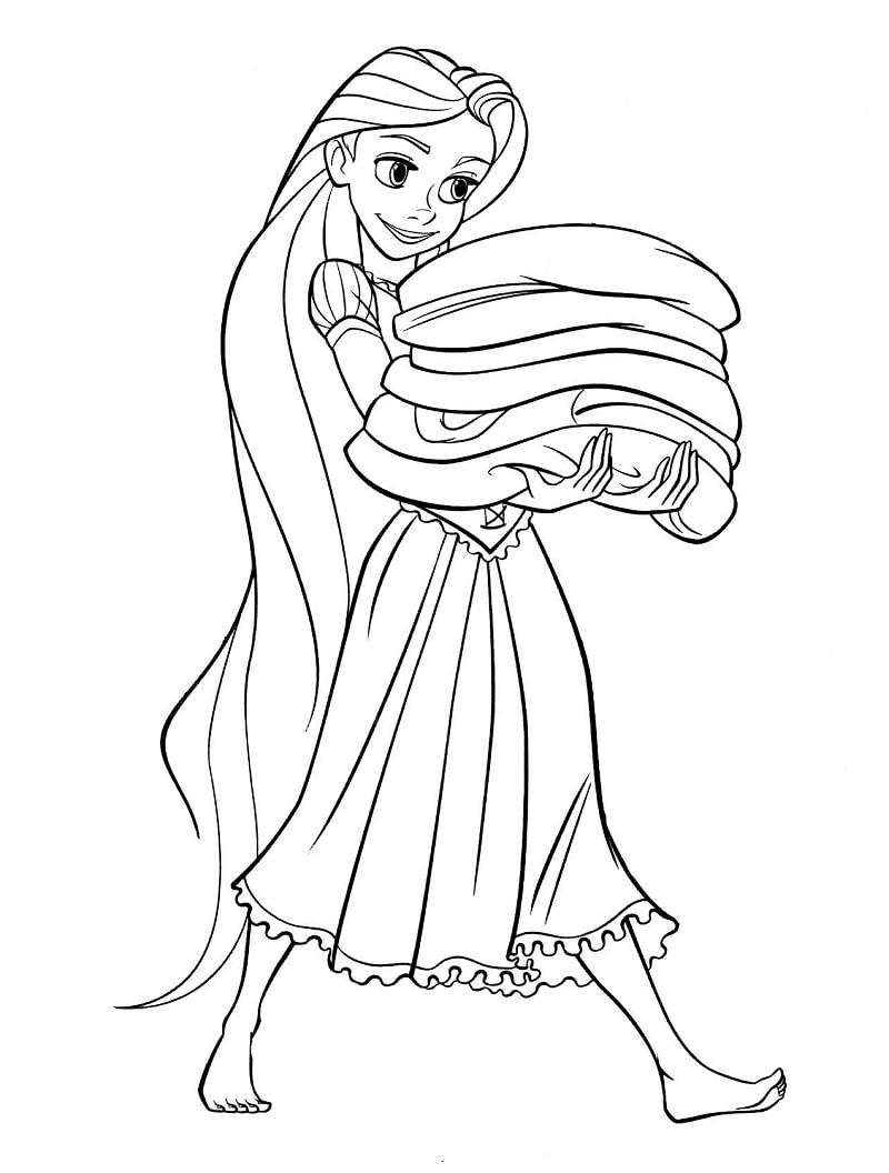 Desenhos de Rapunzel Fazendo Trabalhos Domésticos para colorir