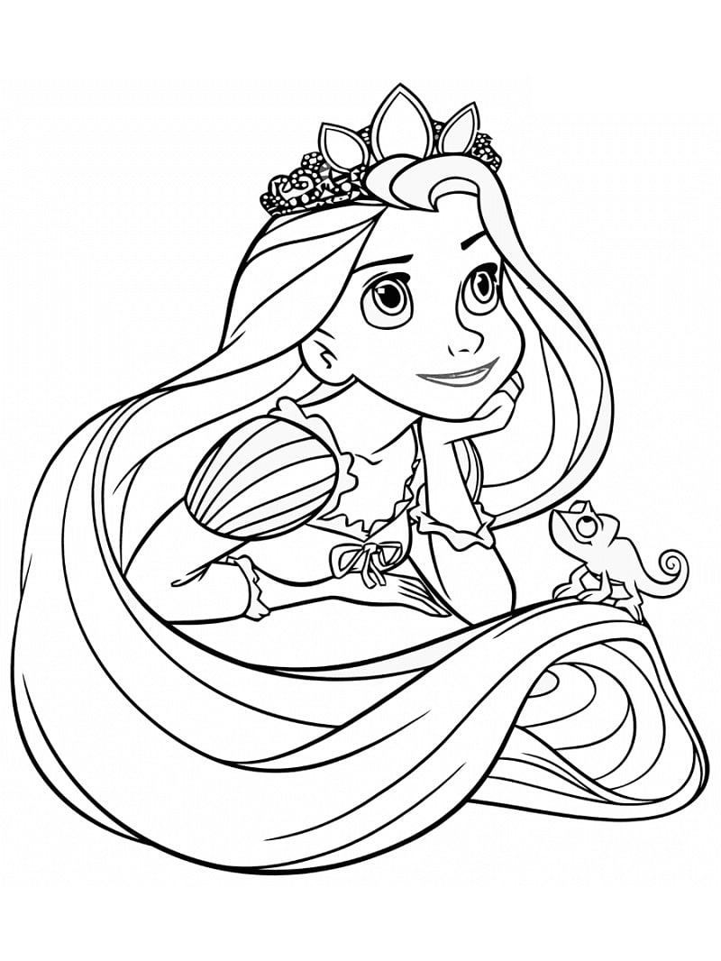 Desenhos de Rapunzel Pensando para colorir
