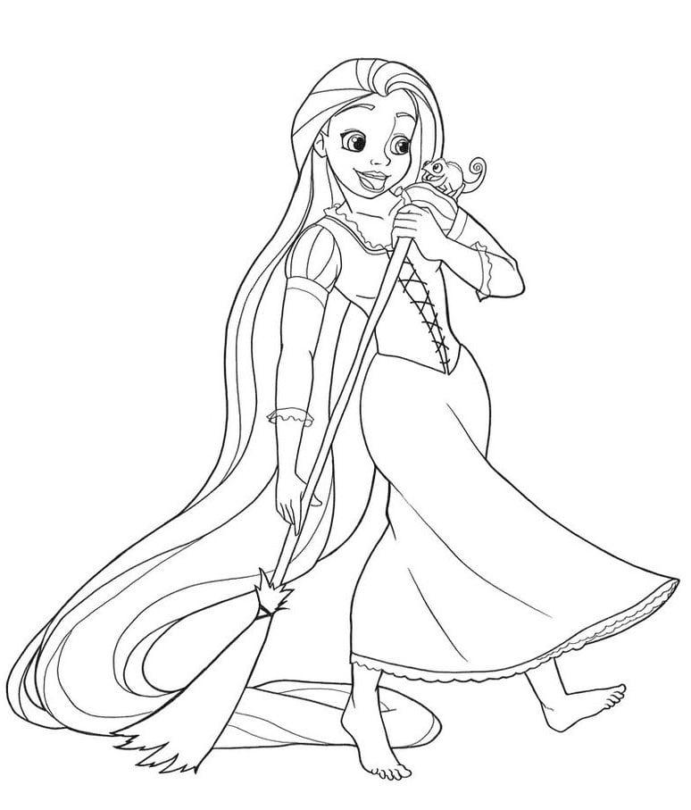 Desenhos de Rapunzel Varrendo para colorir