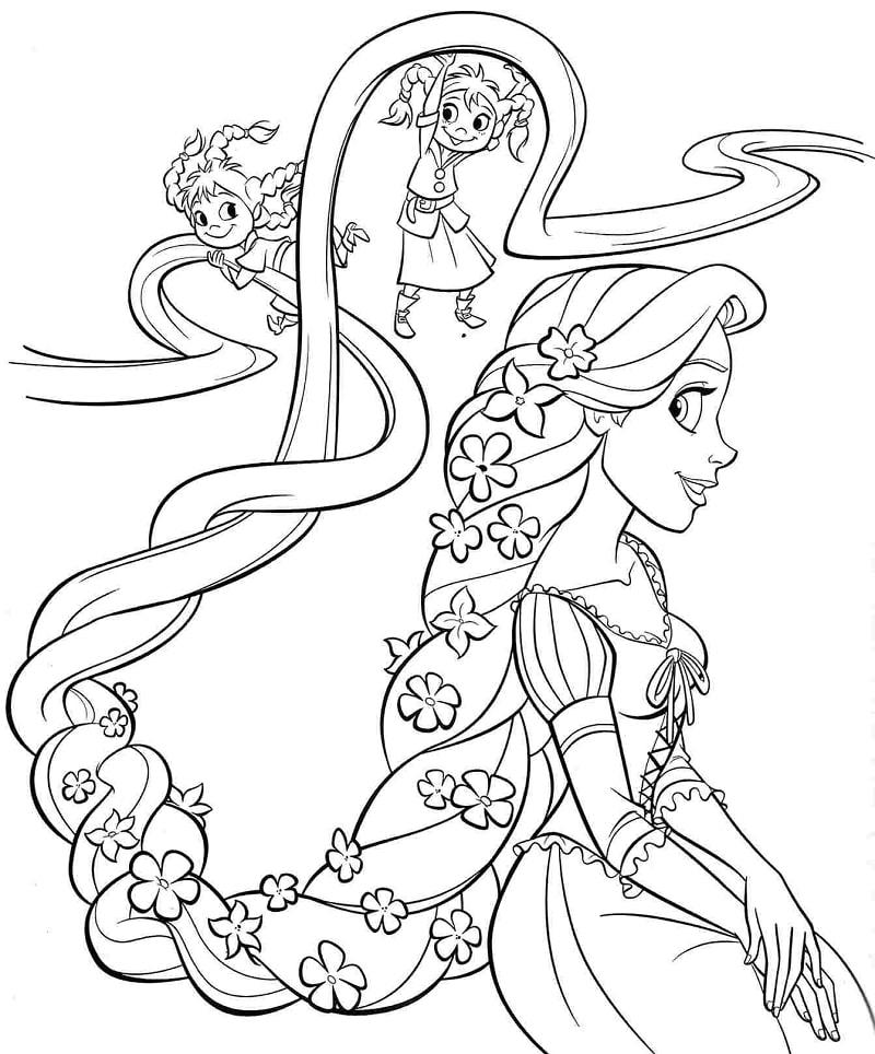 Desenhos de Rapunzel e Crianças para colorir