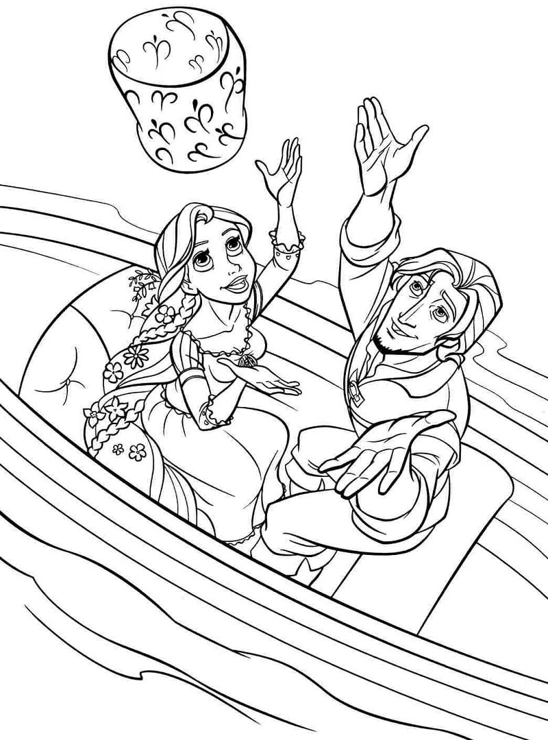 Desenhos de Rapunzel e Flynn para colorir
