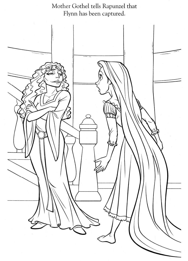Desenhos de Rapunzel e Gothel Mãe para colorir