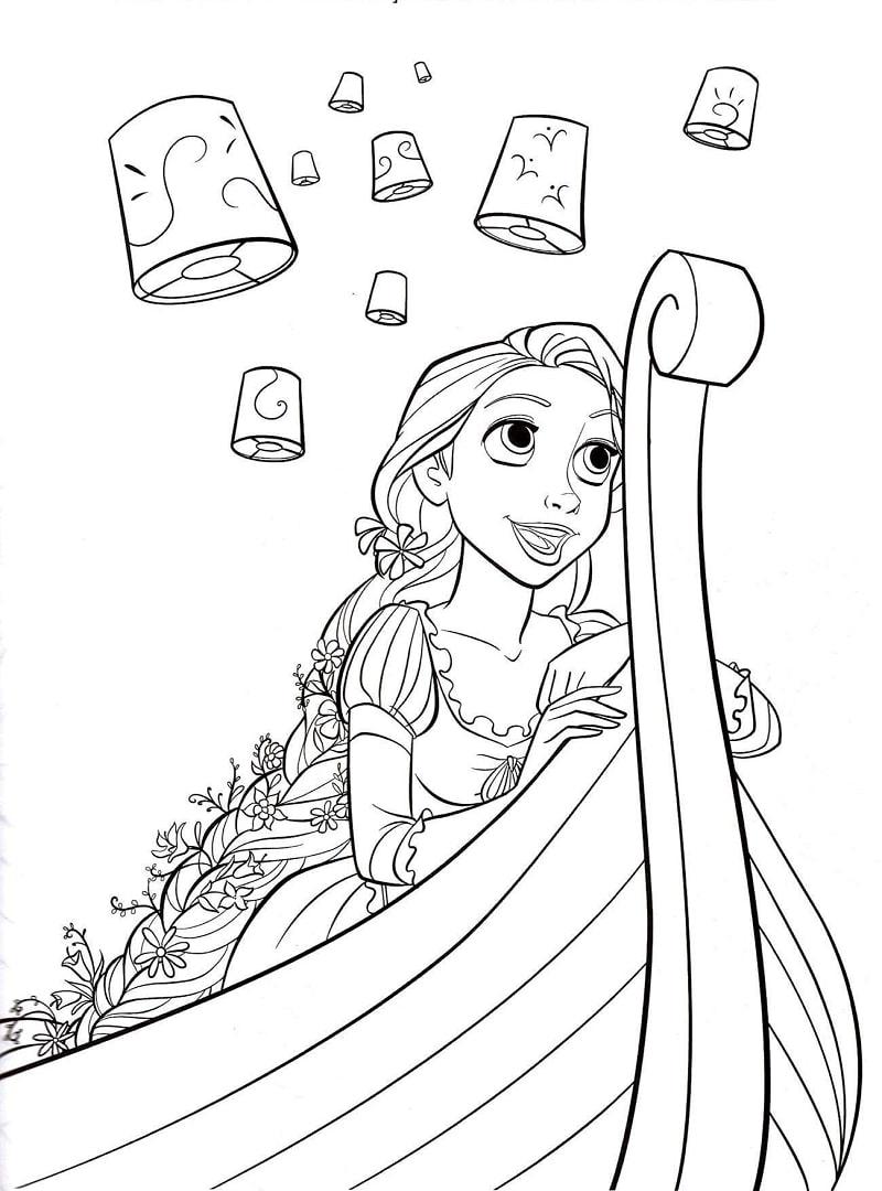 Desenhos de Rapunzel no Barco para colorir