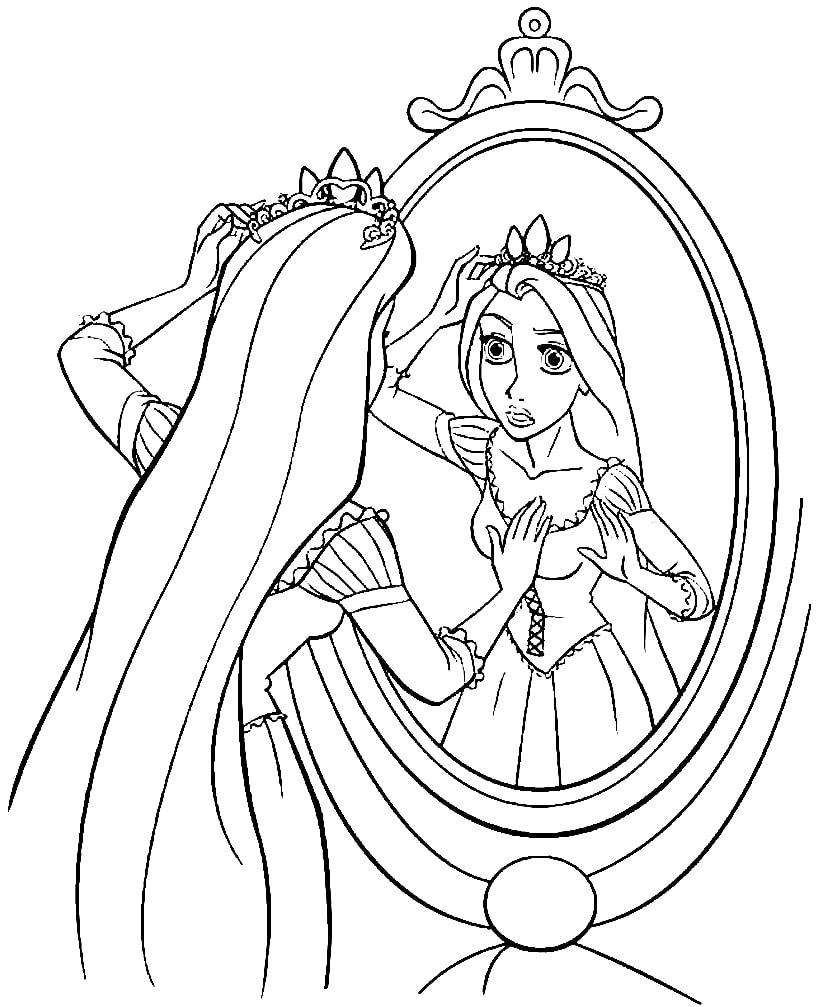 Desenhos de Rapunzel no Espelho para colorir