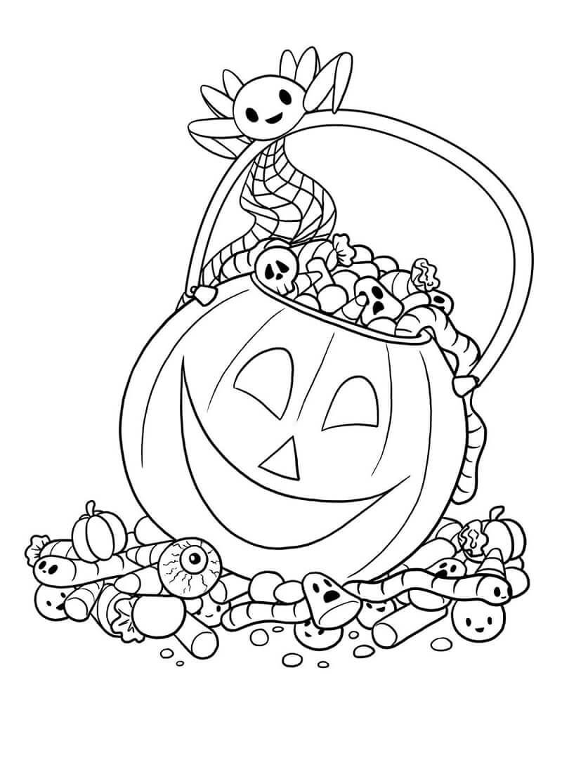 Desenhos de Saco de Doces de Abóbora para colorir
