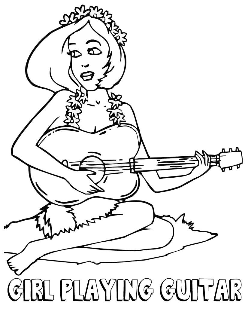 Desenhos de Senhora Está Jogando Guitarra para colorir