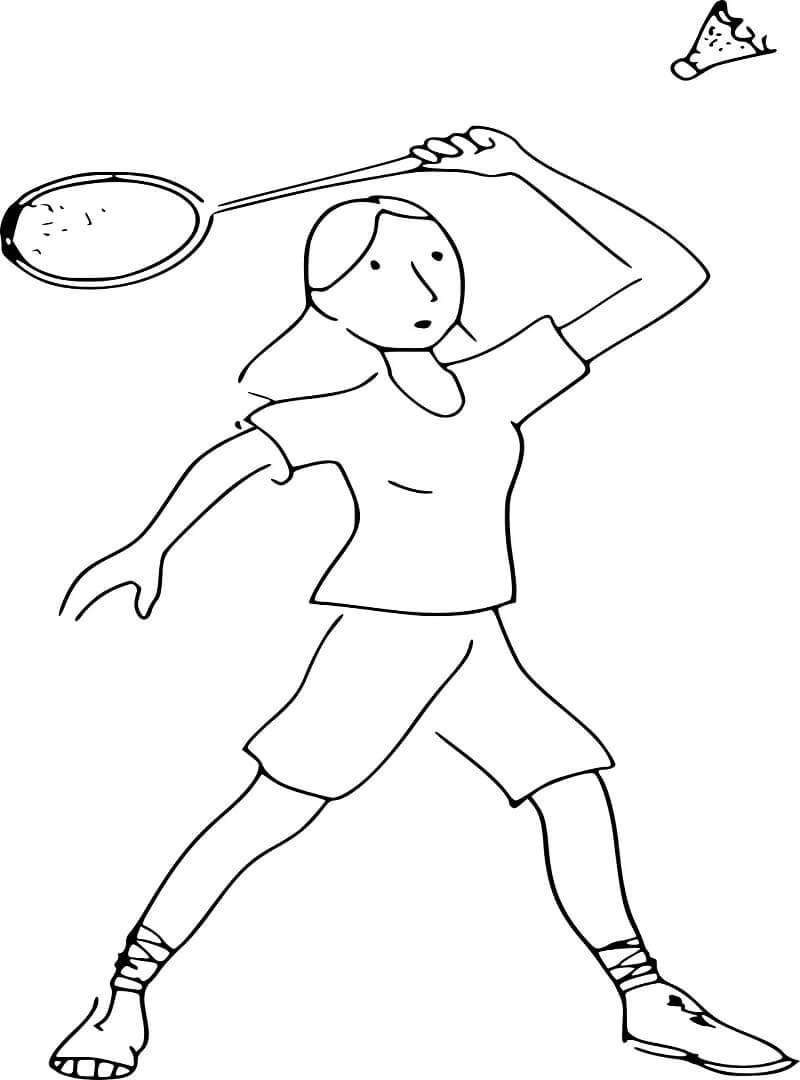 Desenhos de Senhora Jogando Badminton para colorir