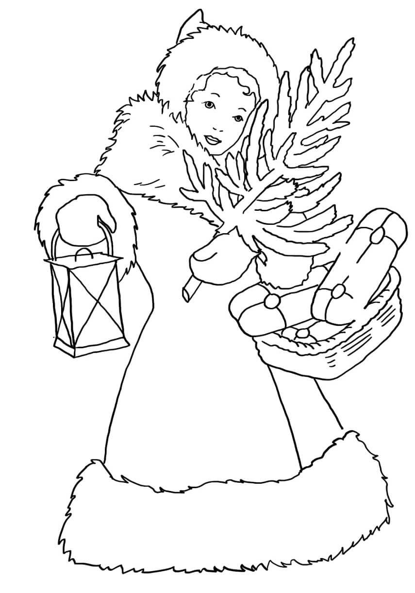 Senhora de Natal para colorir
