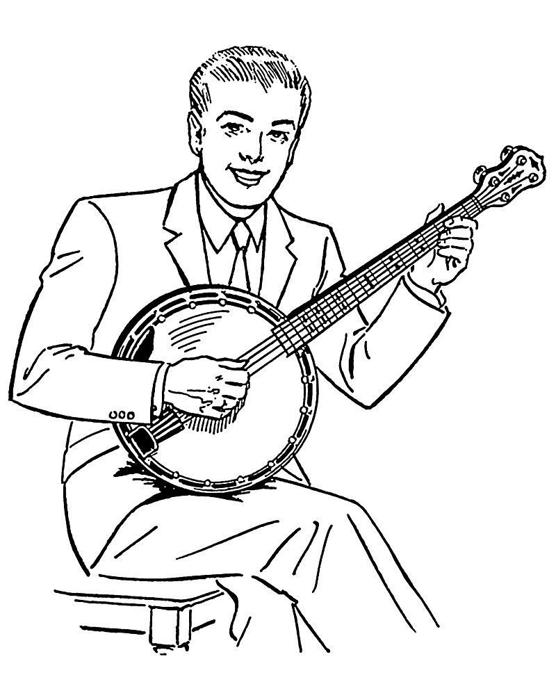 Desenhos de Tocador de Banjo 1 para colorir