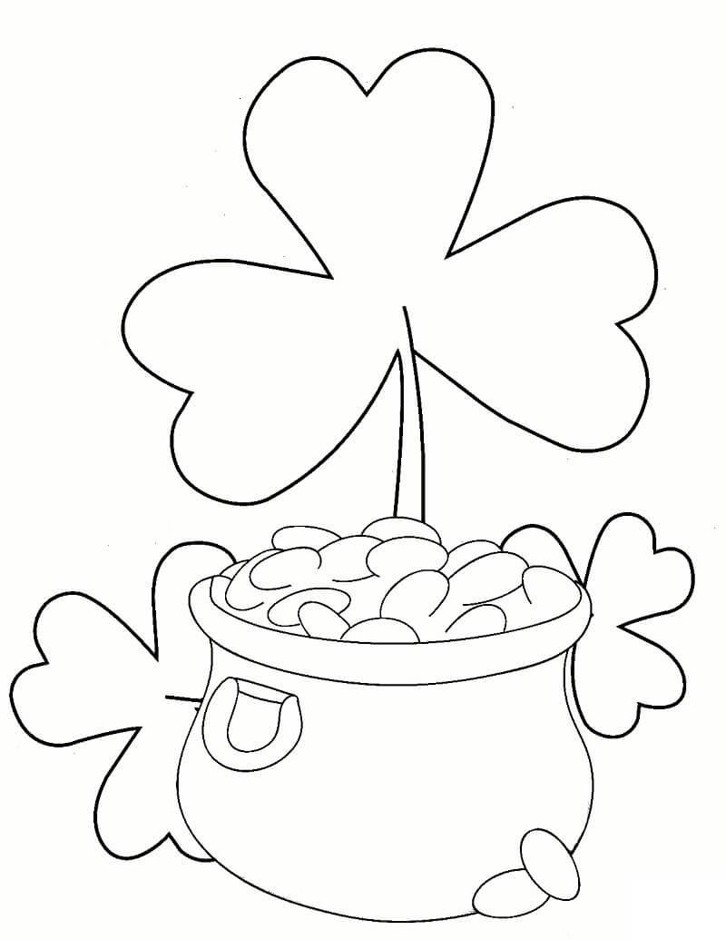 Desenhos de Trevos e pote de ouro para colorir