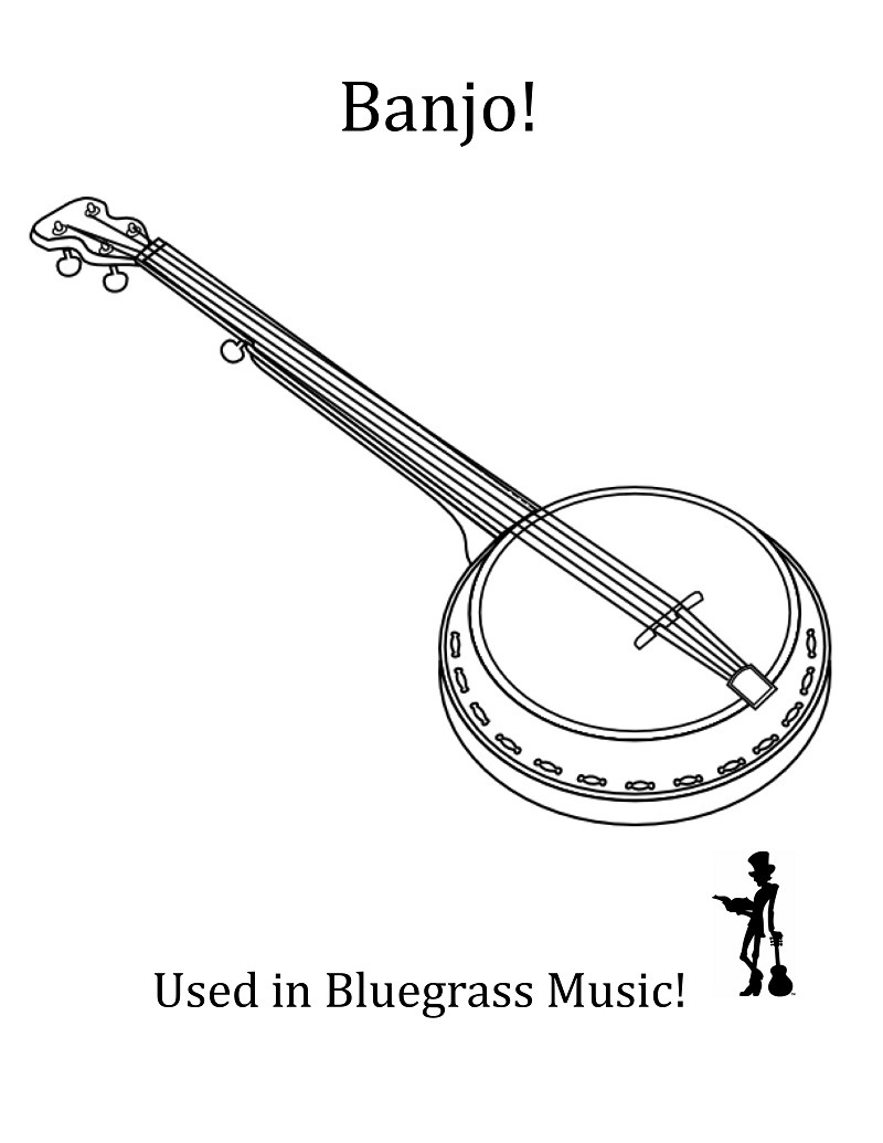 Desenhos de Um Banjo para colorir