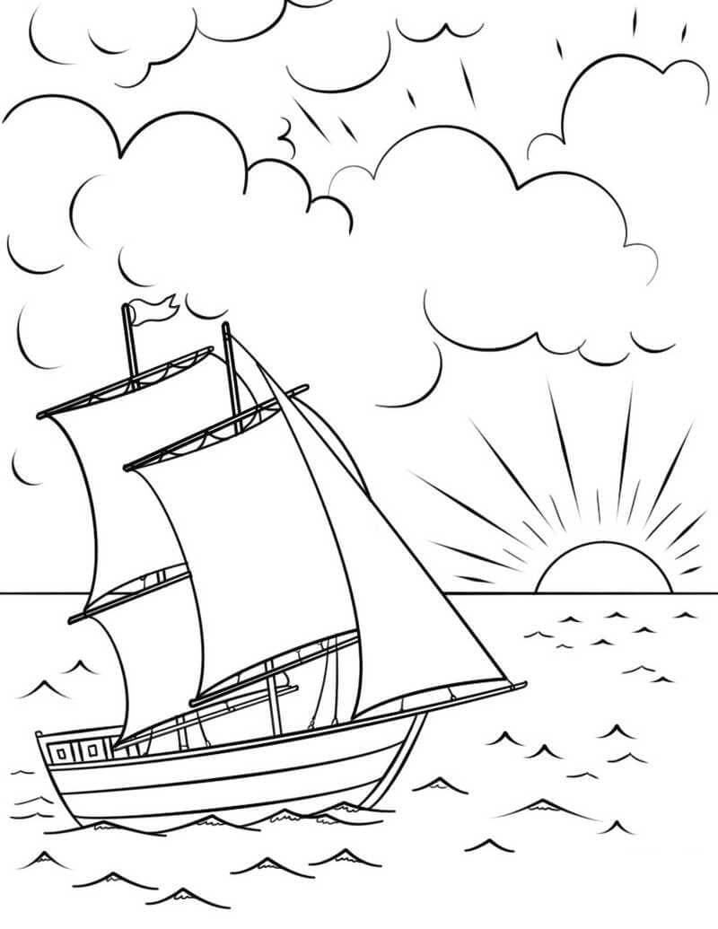 Desenhos de Veleiros ao pôr do sol para colorir