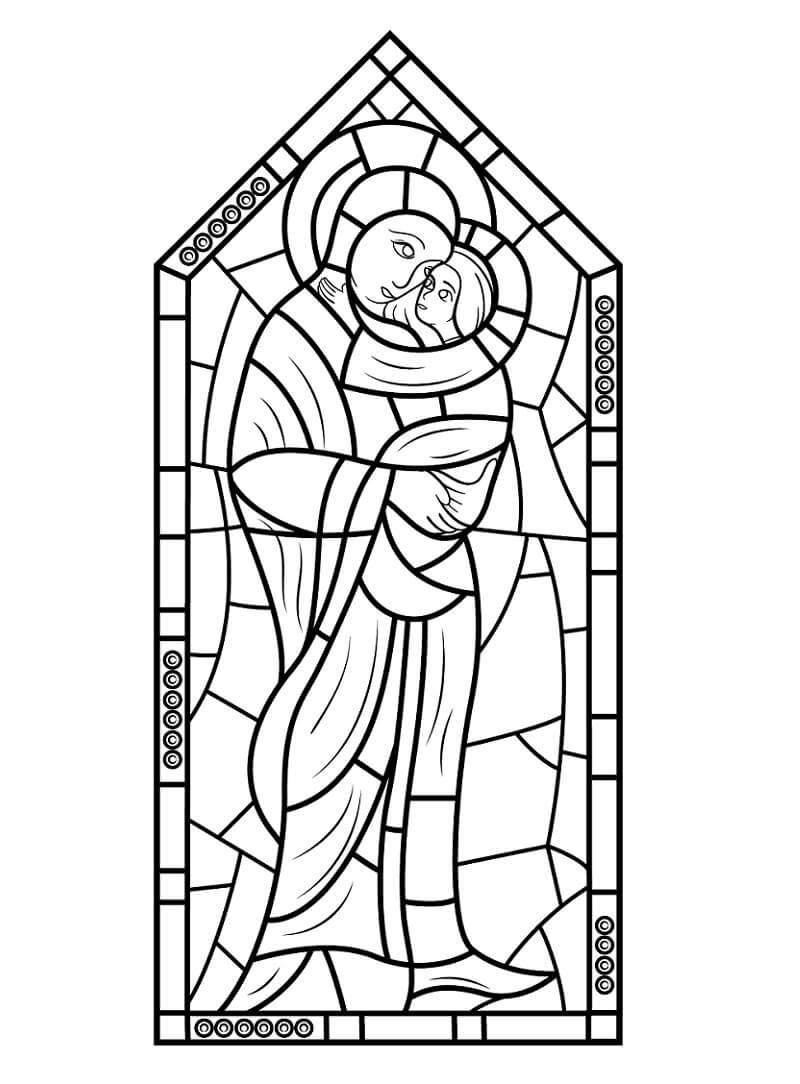 Desenhos de Vitral Maria com Jesus para colorir