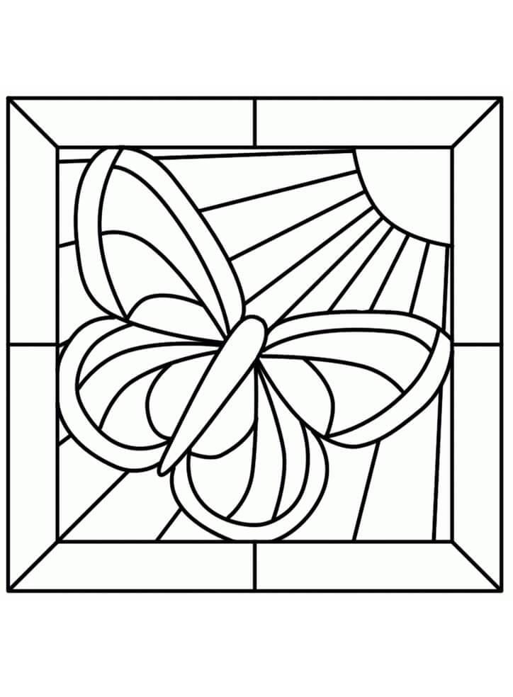 Desenhos de Vitral de Borboleta para colorir