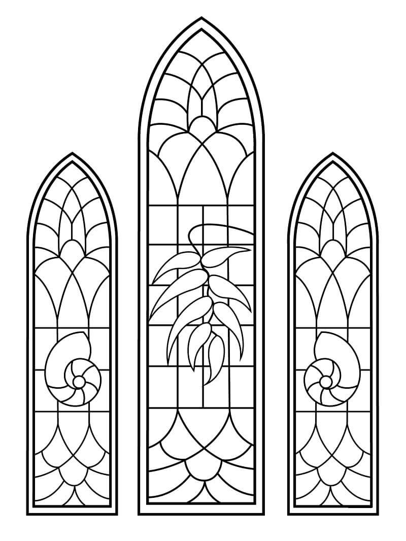 Desenhos de Vitral de Capela Matrimonial para colorir