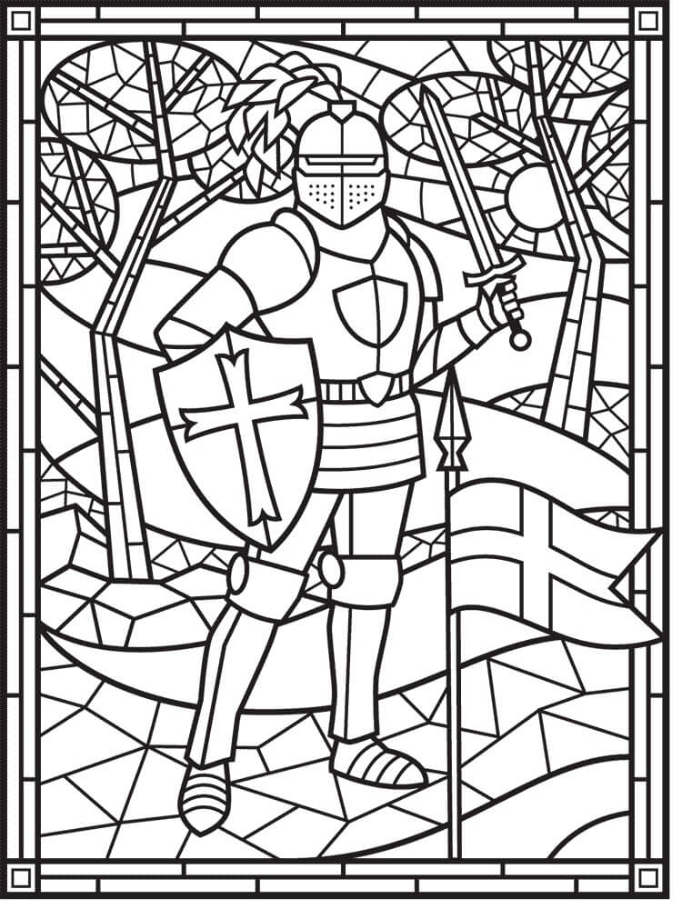 Desenhos de Vitral de Cavaleiro para colorir