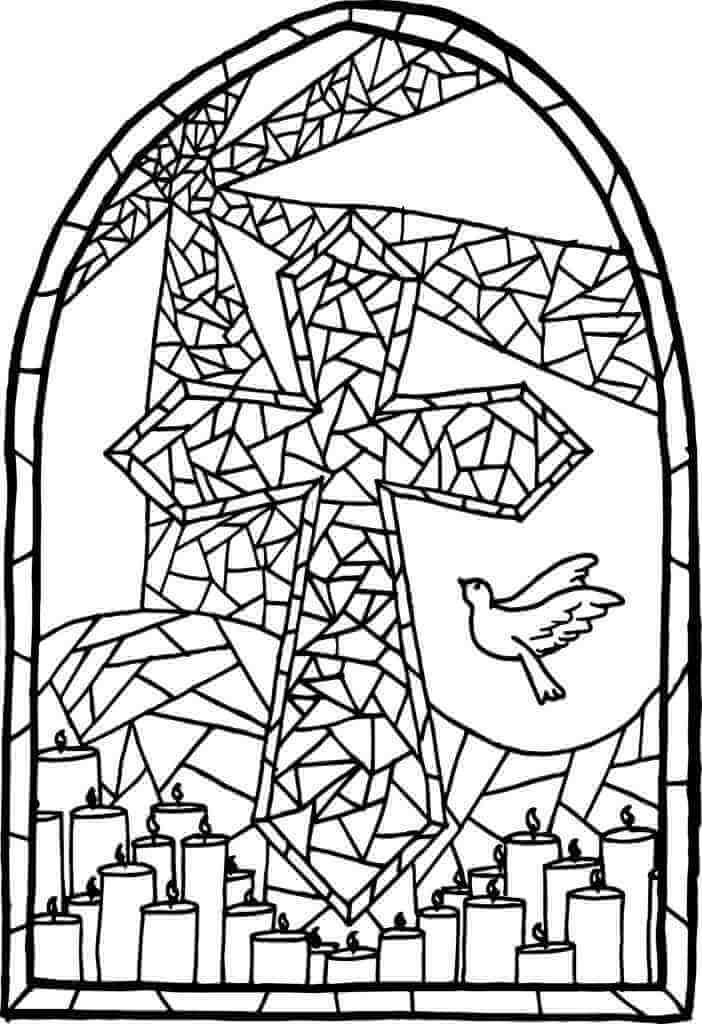 Desenhos de Vitral de Cruz 1 para colorir
