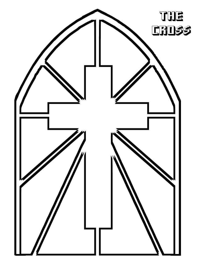 Desenhos de Vitral de Cruz para colorir