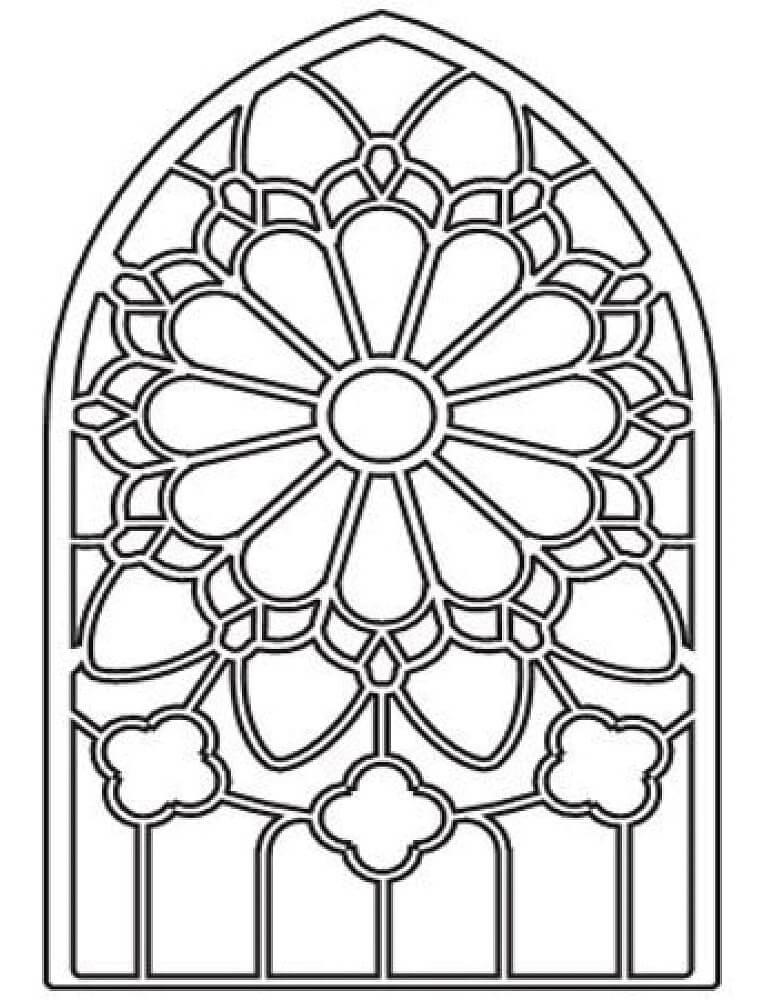 Desenhos de Vitral de Flores para colorir