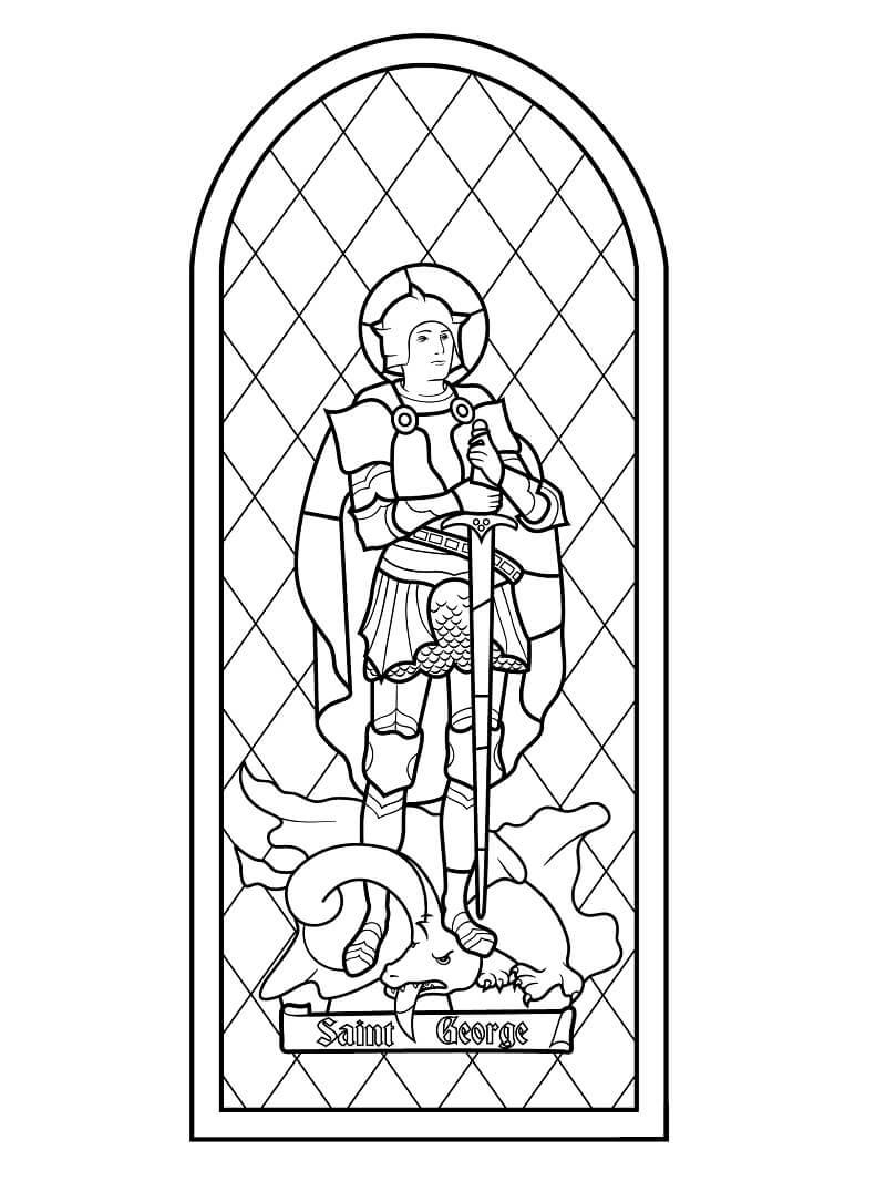 Desenhos de Vitral de São Jorge para colorir